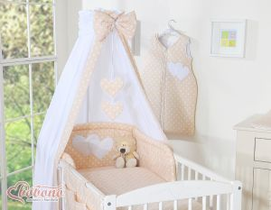 Bedding set 5-pcs with canopy- Hanging Hearts white dots on beige