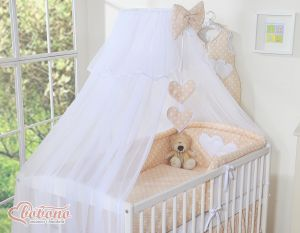 Mosquito-net made of chiffon- Hanging Hearts white dots on beige