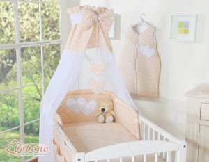Canopy made of Chiffon- Hanging Hearts white dots on beige