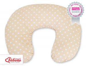 Feeding pillow- Hanging hearts white dots on beige