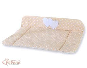 Soft changing mat- Hanging Hearts white dots on beige