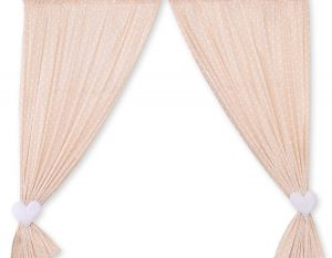 Curtains for baby room- Hanging Hearts white dots on beige