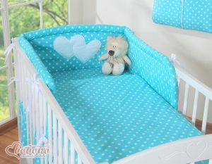 Bedding set 2-pcs- Hanging Hearts white dots on turquoise