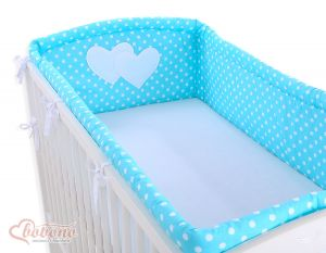 Universal bumper XXL- Hanging Hearts white dots on turquoise