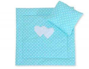 Baby pram set 2pcs- Hanging hearts white dots on turquoise