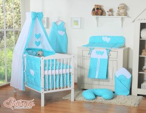 Bedding set 11-pcs with canopy- Hanging Hearts white dots on turquoise