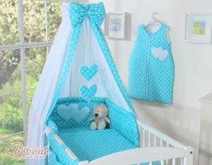 Bedding set 5-pcs with canopy- Hanging Hearts white dots on turquoise
