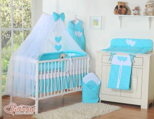 Bedding set 5-pcs with mosquito-net- Hanging Hearts white dots on turquoise