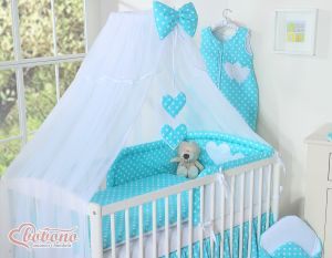 Mosquito-net made of chiffon- Hanging Hearts white dots on turquoise
