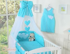 Canopy made of Chiffon- Hanging Hearts white dots on turquoise
