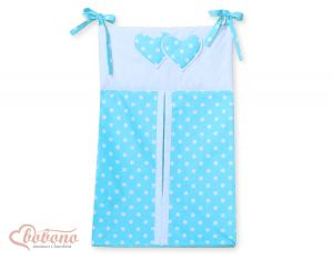 Diaper bag- Hanging Hearts white dots on turquoise