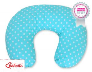 Feeding pillow- Hanging hearts white dots on turquoise