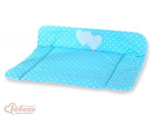 Soft changing mat- Hanging Hearts white dots on turquoise