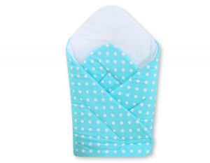 Babynest with stiffening- Hanging Hearts white dots on turquoise