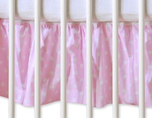 Dust Ruffle-Masking flounce 140x70cm- Hanging Hearts white dots on pink