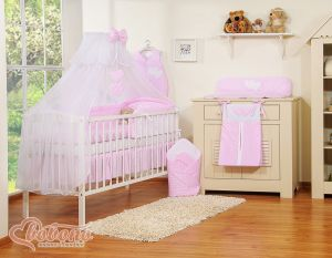 Bedding set 5-pcs with mosquito-net- Hanging Hearts white dots on pink