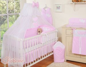 Bedding set 7-pcs with mosquito-net- Hanging Hearts white dots on pink