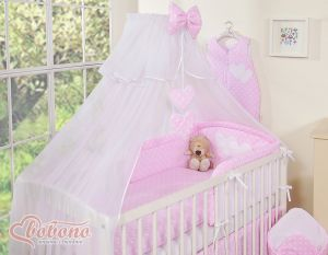 Mosquito-net made of chiffon- Hanging Hearts white on pink