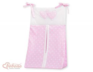 Diaper bag- Hanging Hearts white dots on pink