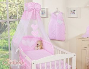 Canopy made of Chiffon- Hanging Hearts white dots on pink