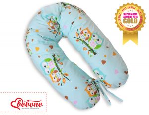 Pregnancy pillow- Owls on mint