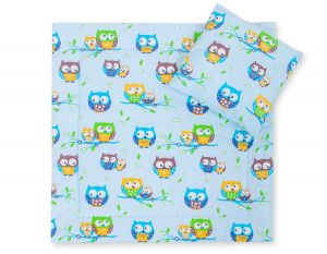 Baby pram set 2pcs- Basic owls blue