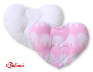 Double-sided Baby head support pillow- Elephants pink