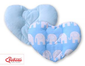 Double-sided Baby head support pillow- Elephants blue