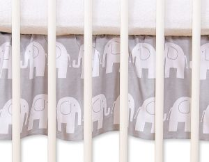 Dust Ruffle-Masking flounce for cot 120cm - Simple Elephants grey