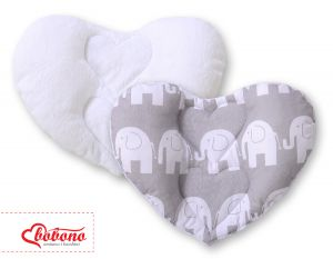 Double-sided Baby head support pillow- Elephants grey