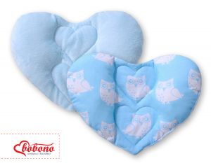 Double-sided Baby head support pillow- Owls blue