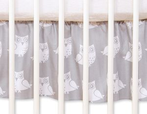 Dust Ruffle-Masking flounce for cot 140cm - Simple owls grey