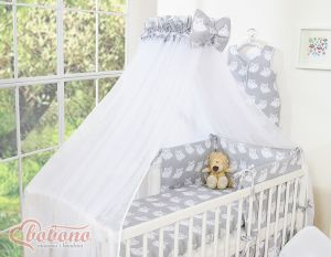 Mosquito-net made of chiffon - Simple Owls gray