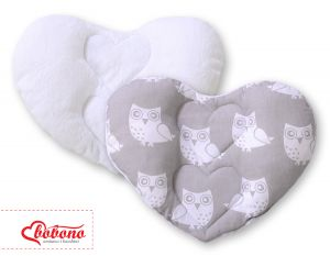 Double-sided Baby head support pillow- Owls grey