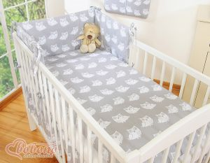 Bedding set 3-pcs- Simple Owls grey
