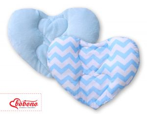 Double-sided Baby head support pillow- Chevron blue