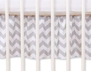 Dust Ruffle-Masking flounce for cot 140cm - Simple chevron grey