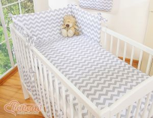 Bedding set 3-pcs- chevron grey