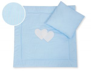 Baby pram set 2pcs- Hanging hearts blue strips
