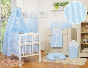 Bedding set 7-pcs with canopy- Hanging Hearts blue strips