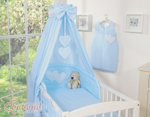 Bedding set 5-pcs with canopy- Hanging Hearts blue strips