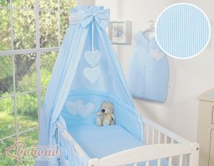 Canopy made of fabric- Hanging Hearts blue strips