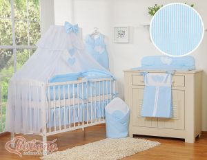 Bedding set 11-pcs with mosquito-net- Hanging Hearts blue strips