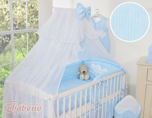 Bedding set 5-pcs with mosquito-net- Hanging Hearts blue strips