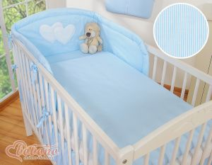 Bedding set 3-pcs- Hanging Hearts blue strips