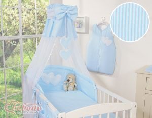 Canopy made of Chiffon- Hanging Hearts blue strips