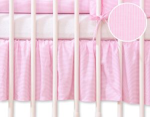 Dust Ruffle-Masking flounce 140x70cm- Hanging Hearts pink strips