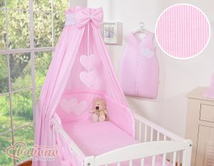 Canopy made of fabric- Hanging Hearts pink strips
