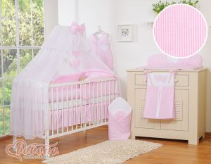 Bedding set 5-pcs with mosquito-net- Hanging Hearts pink strips