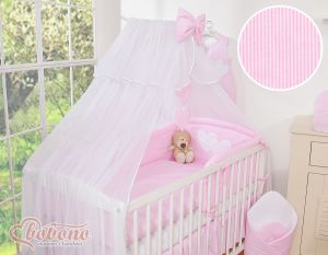 Mosquito-net made of chiffon- Hanging Hearts pink strips